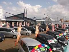 広い展示場には各メーカーの中古車がズラリ!車選びも楽々!