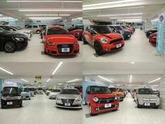未使用車から輸入車まで屋内展示200台!!ハイブリッドカーも多数展示しております。