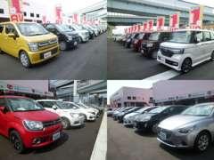広い展示場に軽自動車100台 普通車100台計200台を展示しております。 営業マンが親切丁寧にご案内差し上げます。