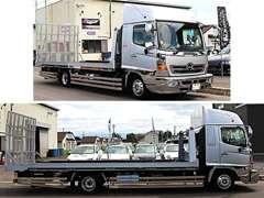 4t積搬送車完備。大きな搬送車は移動によるお車へのダメージも無く、品質を保ちお届けする事が可能です。