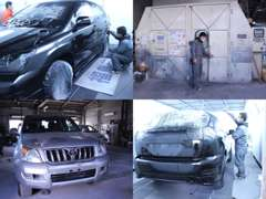 第一工場になります。こちらで車輌の点検、整備、カスタムを行っております。経験豊富なスタッフがサポートさせて頂きます。